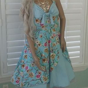 Dresses & Skirts - new Sky Blue PiNk Floral 50s Retro Look FUN Dress